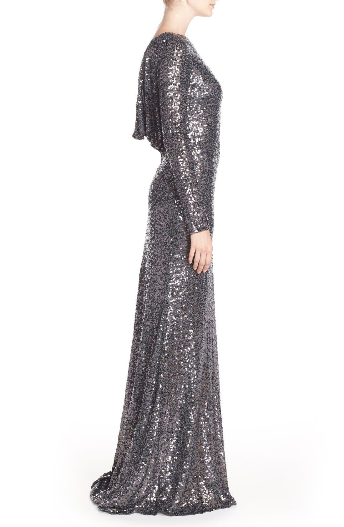Alternate Image 3  - Badgley Mischka Cowl Back Sequin Gown