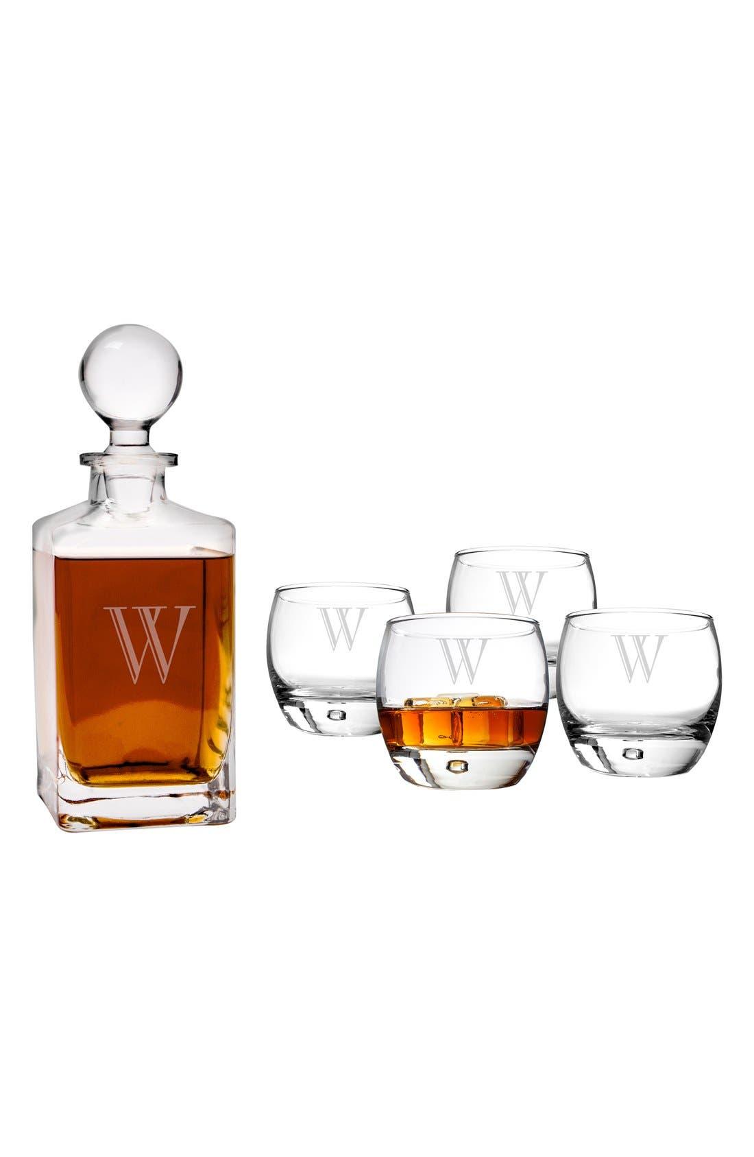 Monogram Whiskey Decanter & Glasses,                             Alternate thumbnail 2, color,