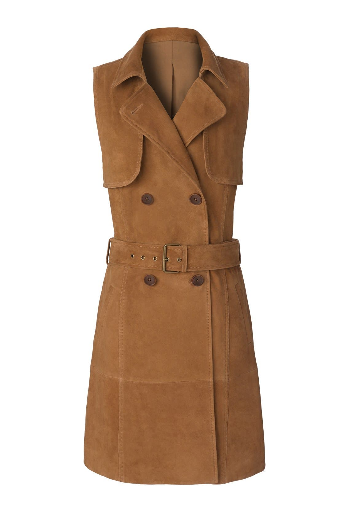 Alternate Image 7  - Olivia Palermo + Chelsea28 Sleeveless Suede Trench Dress