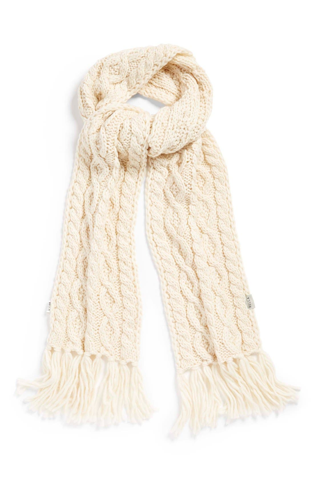 Alternate Image 1 Selected - Rella 'Betto' Cable Knit Merino Wool Blend Scarf
