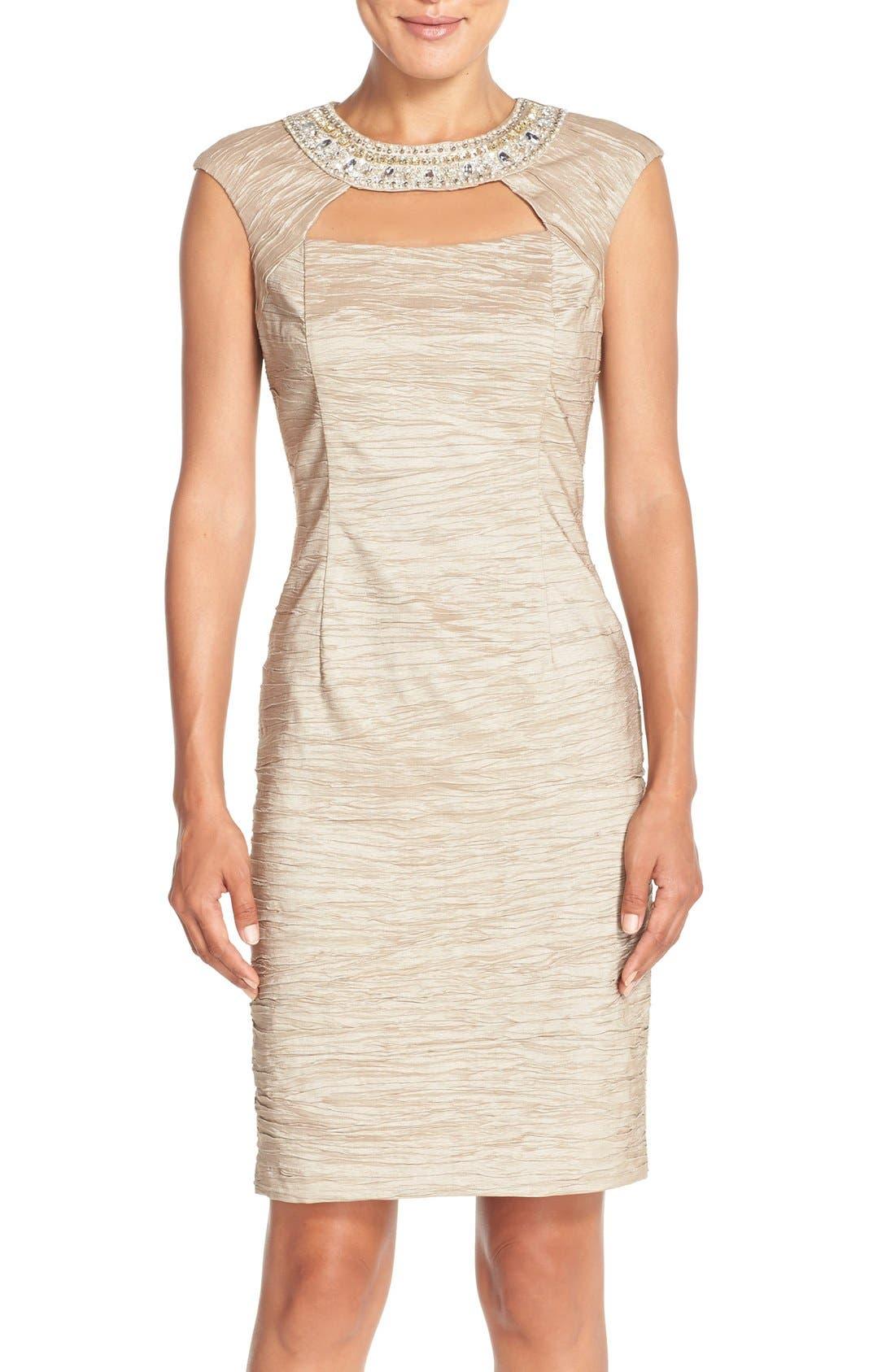 Embellished Crushed Taffeta Sheath Dress,                         Main,                         color, Champagne