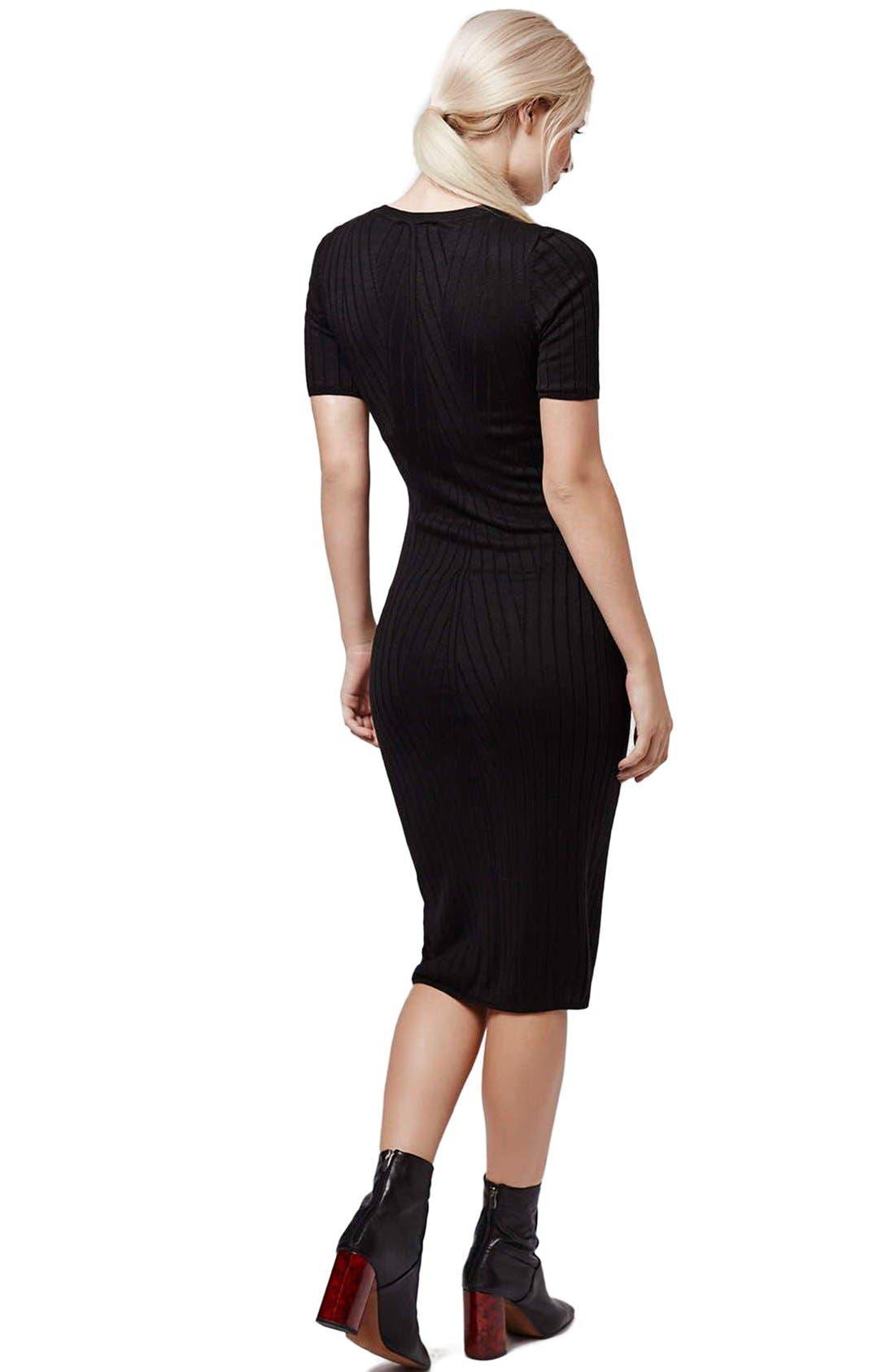 Alternate Image 2  - Topshop Travelling Ribbed Midi Dress (Petite)