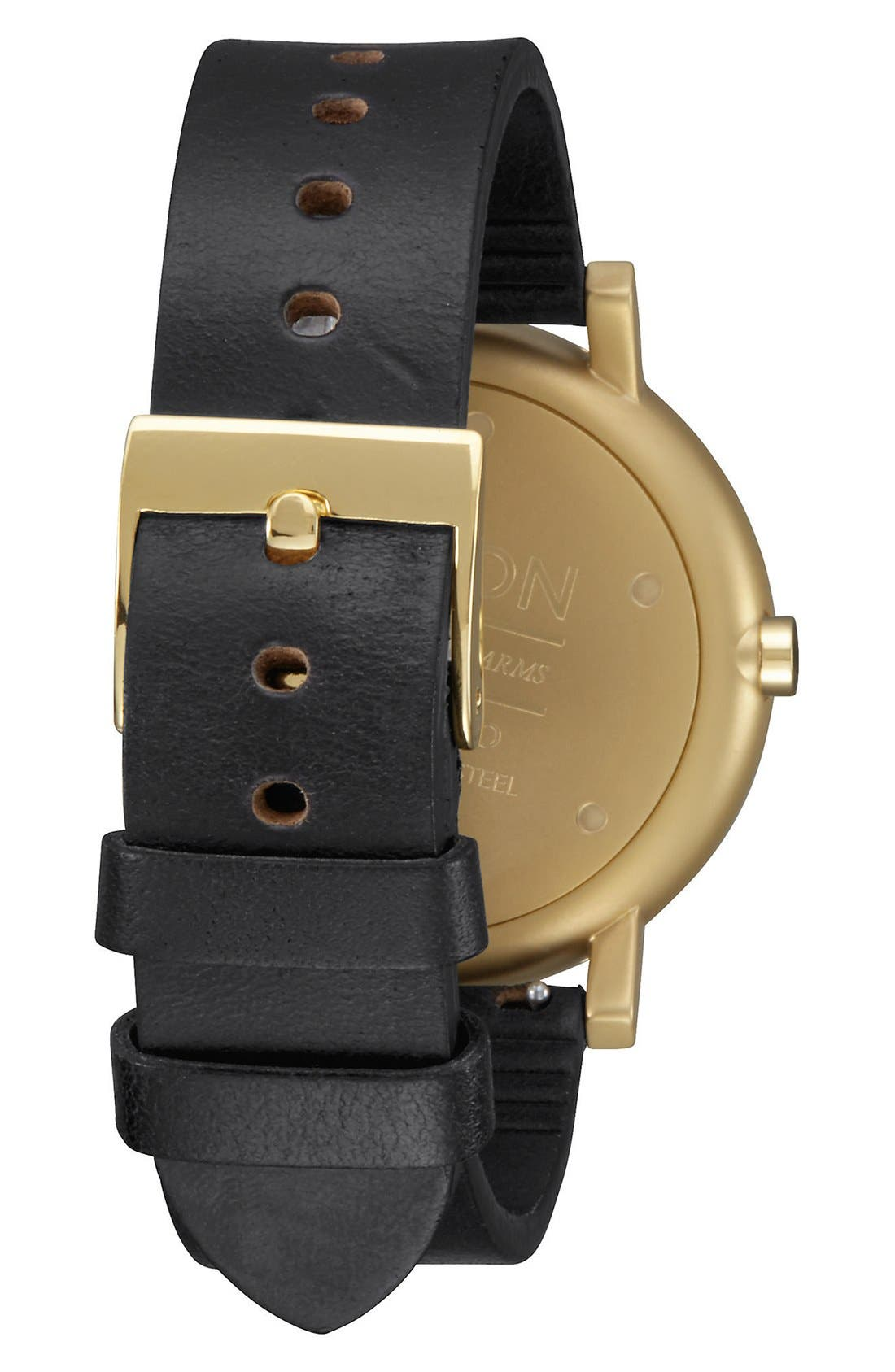 'Rollo' Leather Strap Watch, 42mm,                             Alternate thumbnail 2, color,                             Black/ Black