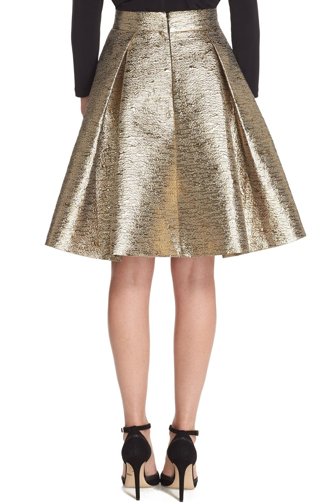 Alternate Image 2  - Eliza J Metallic Jacquard Flared Skirt
