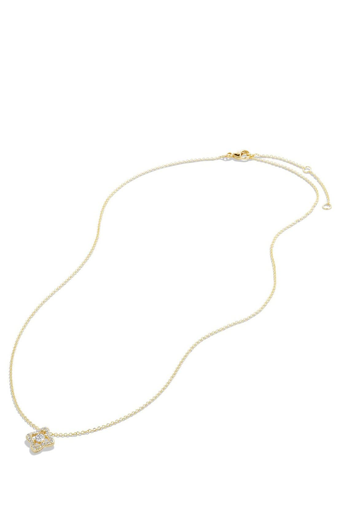 Alternate Image 2  - David Yurman 'Venetian Quatrefoil' Necklace with Diamonds in Gold