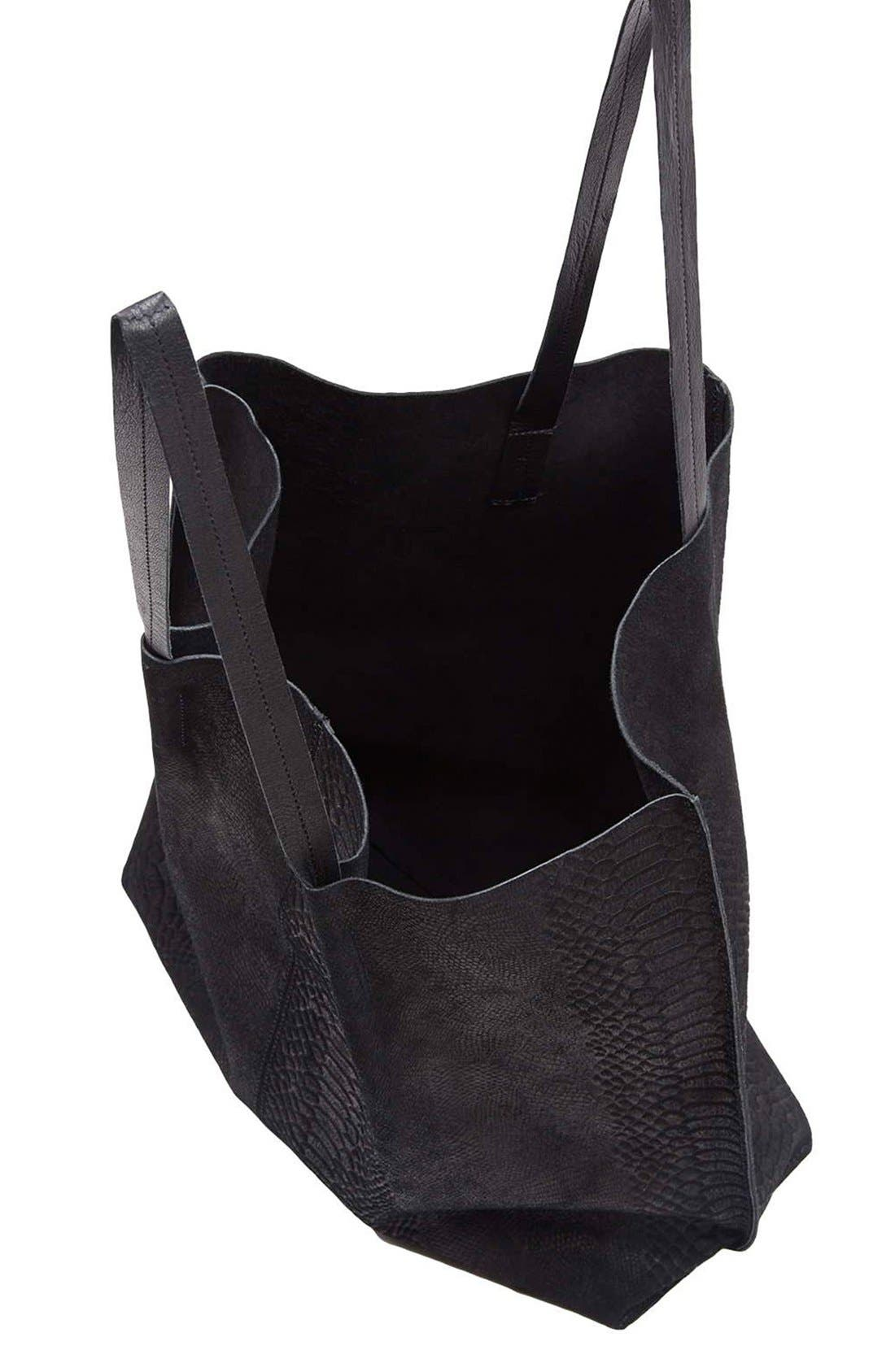 Embossed Suede Shopper,                             Alternate thumbnail 3, color,                             Black