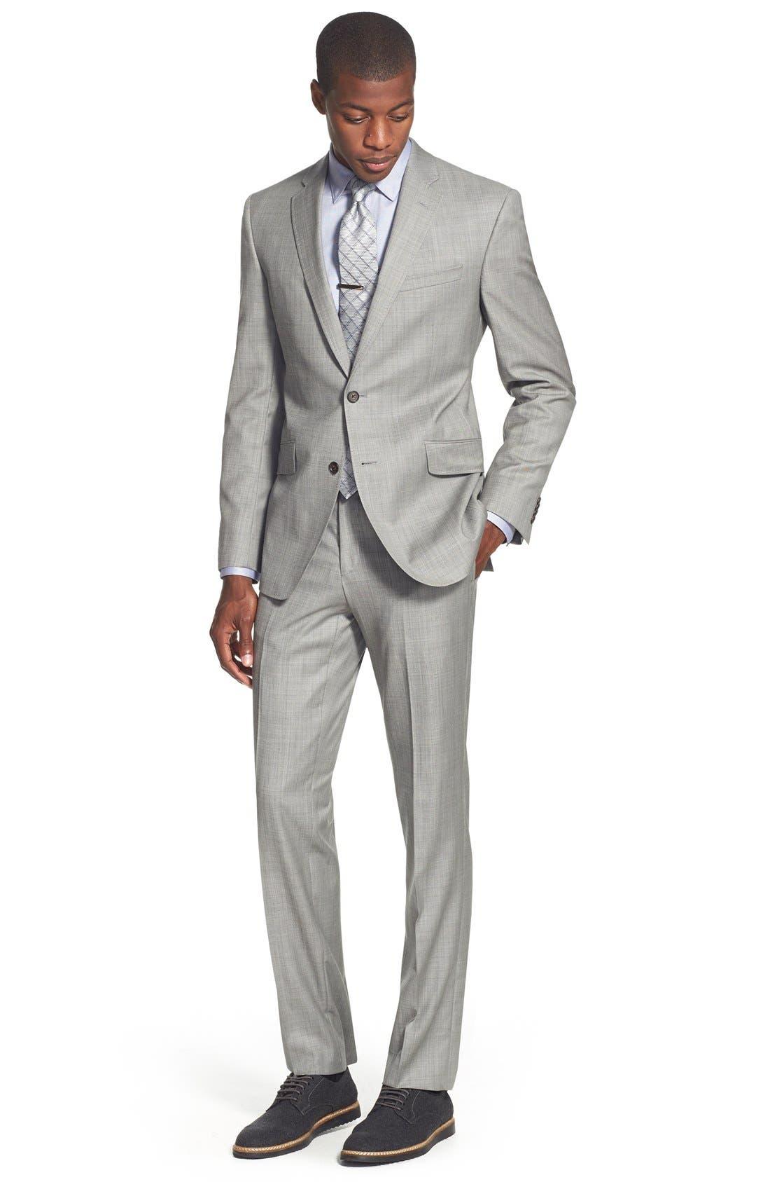 Jones Trim Fit Wool Suit,                             Alternate thumbnail 9, color,                             Medium Grey