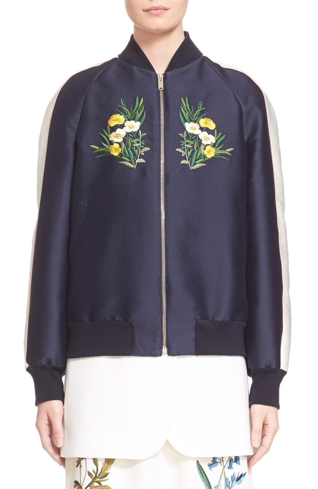 'Lorinda' Floral Embroidered Bomber Jacket,                             Main thumbnail 1, color,                             Ink