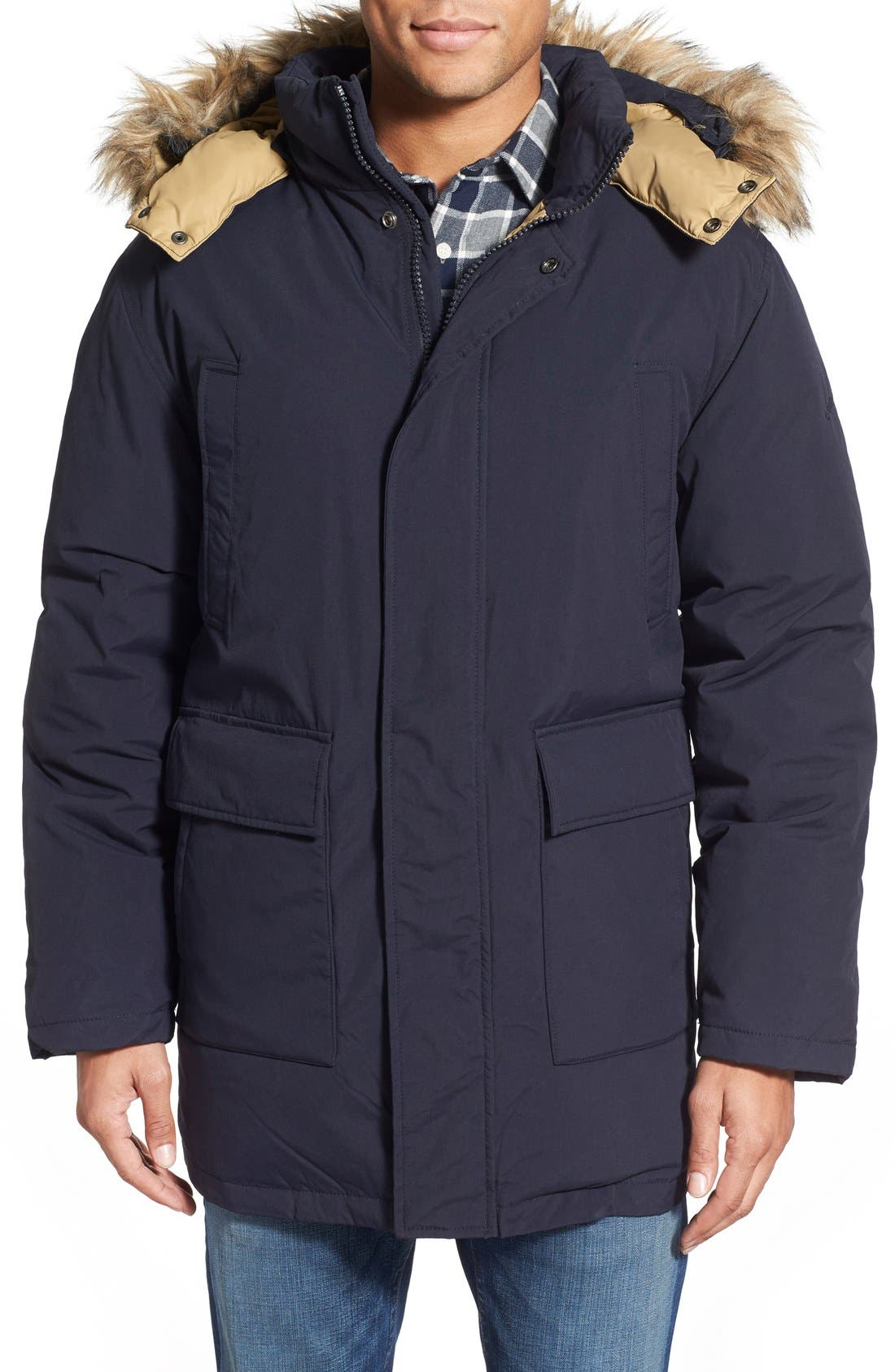 'Iceberg' Water Resistant Down Parka with Faux Fur Trim,                         Main,                         color, Navy