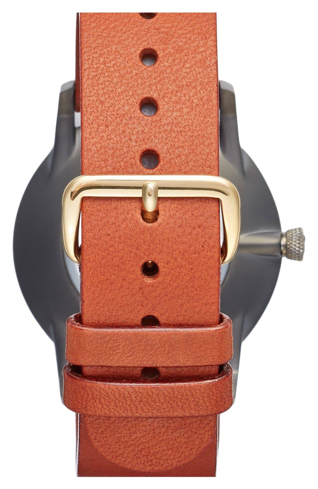Walter Falken Organic Leather Strap Watch, 38mm,                             Alternate thumbnail 3, color,                             Cognac/ Gunmetal/ Gunmetal