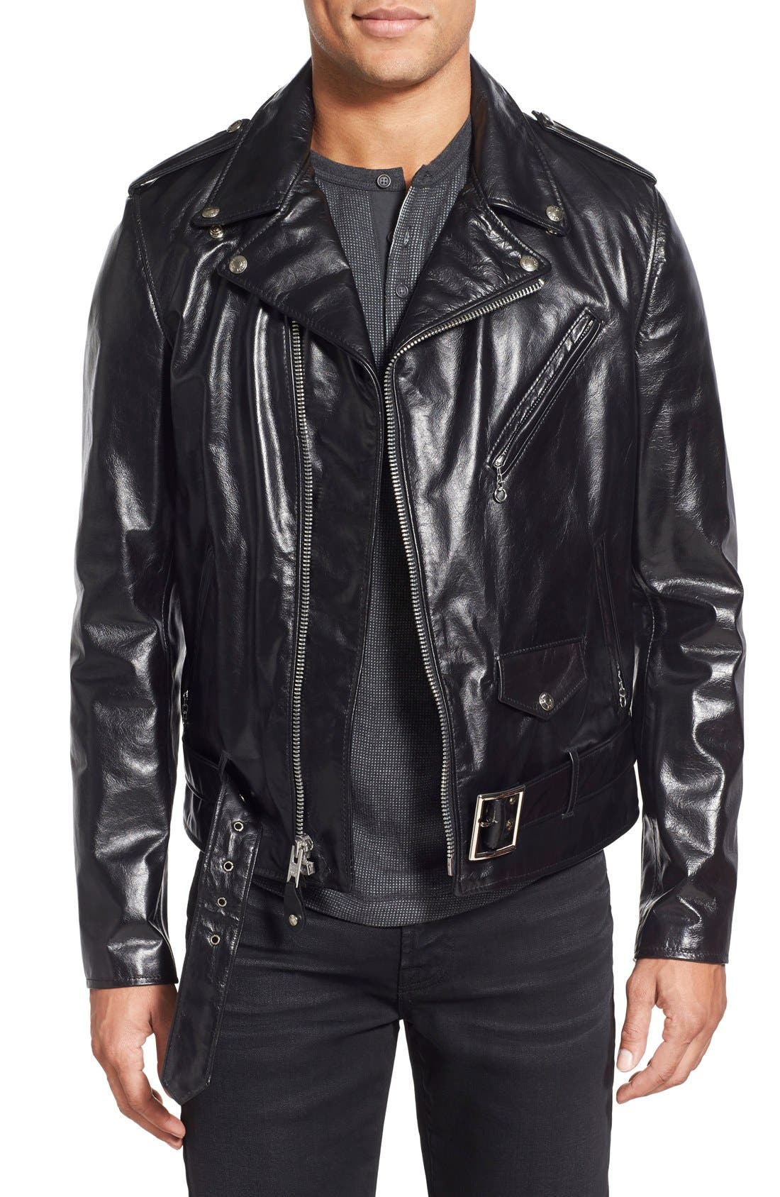 Waxy Cowhide Leather Motorcycle Jacket,                         Main,                         color, Black