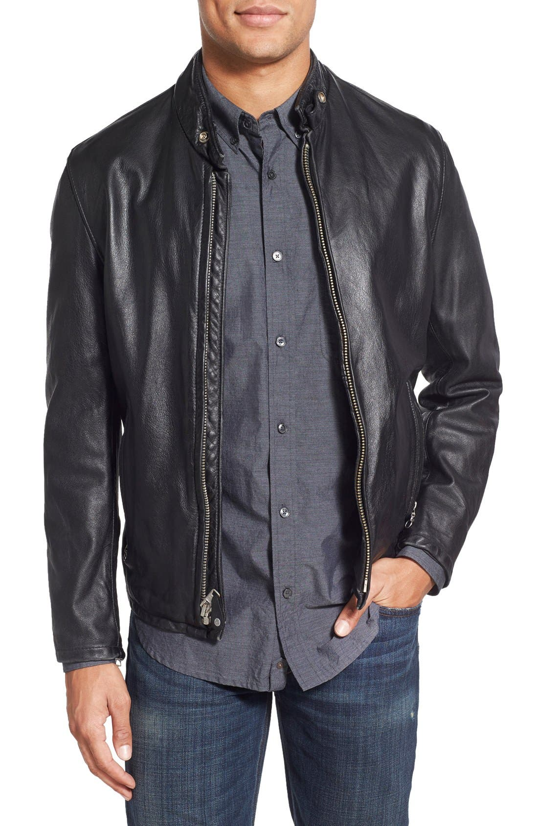 Schott NYC Café Racer Slim Fit Leather Jacket