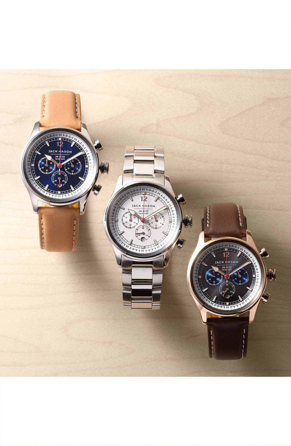 Nautical Chronograph Leather Strap Watch, 42mm,                             Alternate thumbnail 4, color,