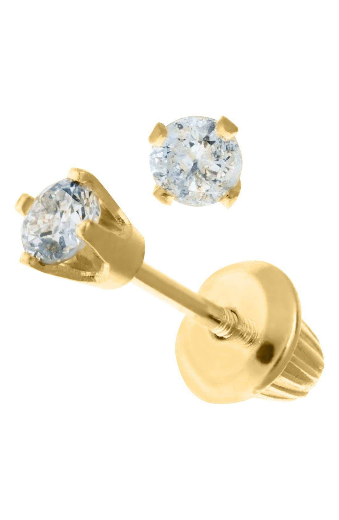 Alternate Image 2  - Mignonette 14k Yellow Gold & Diamond Stud Earrings (Baby Girls)
