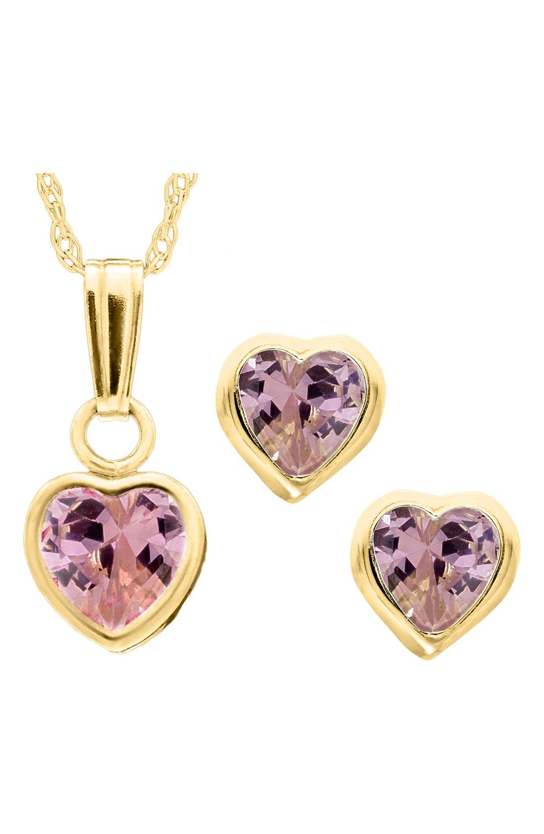 14k Gold Birthstone Necklace & Stud Earrings,                             Main thumbnail 1, color,                             October