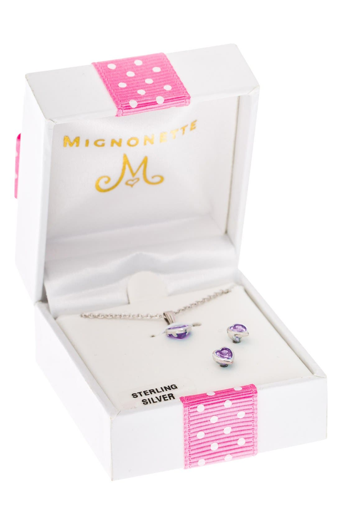 Alternate Image 3  - Mignonette Sterling Silver & Cubic Zirconia Birthstone Necklace & Earrings Set (Girls)