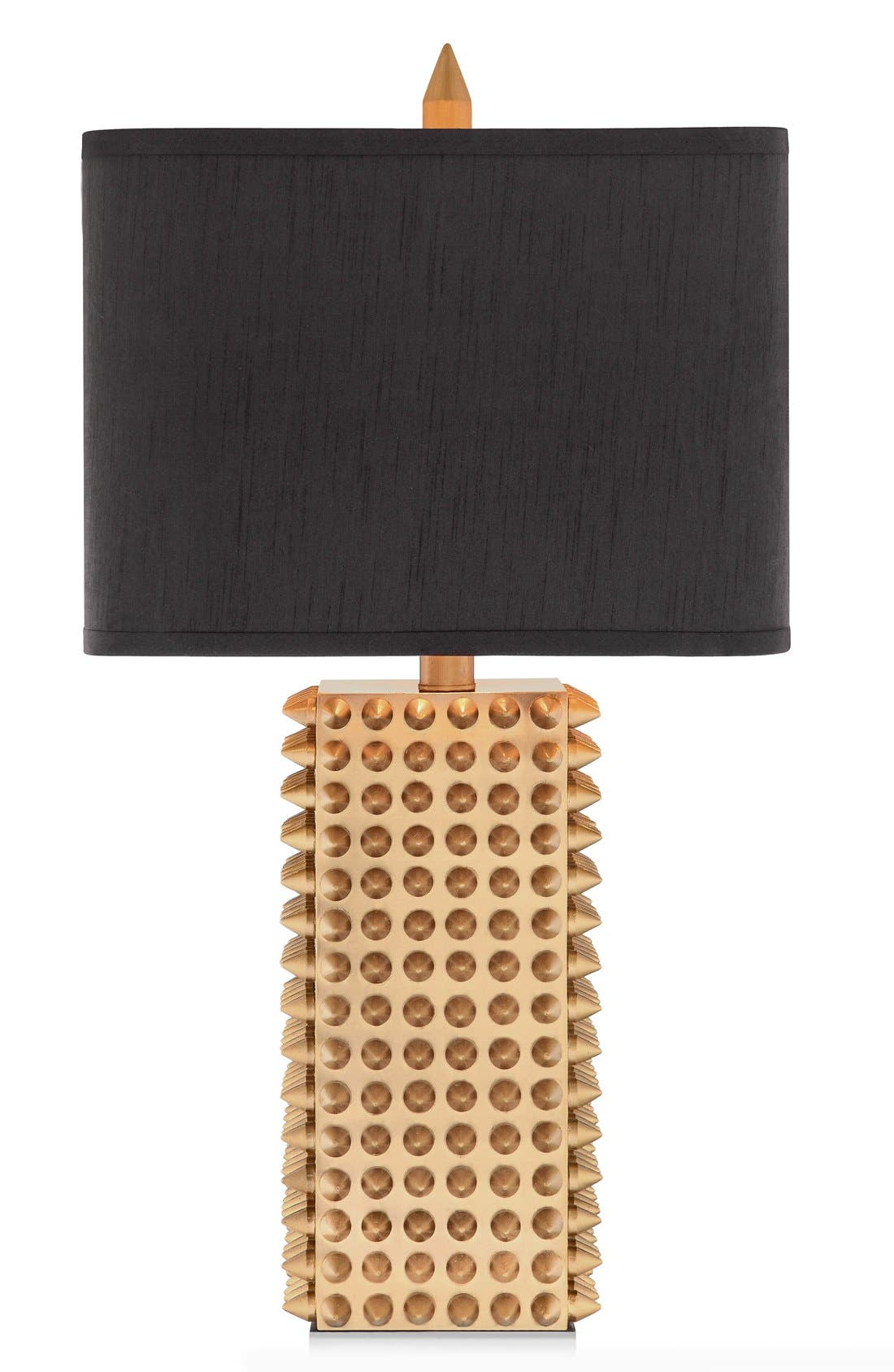 Goldtone Spiked Square Table Lamp,                         Main,                         color, Gold