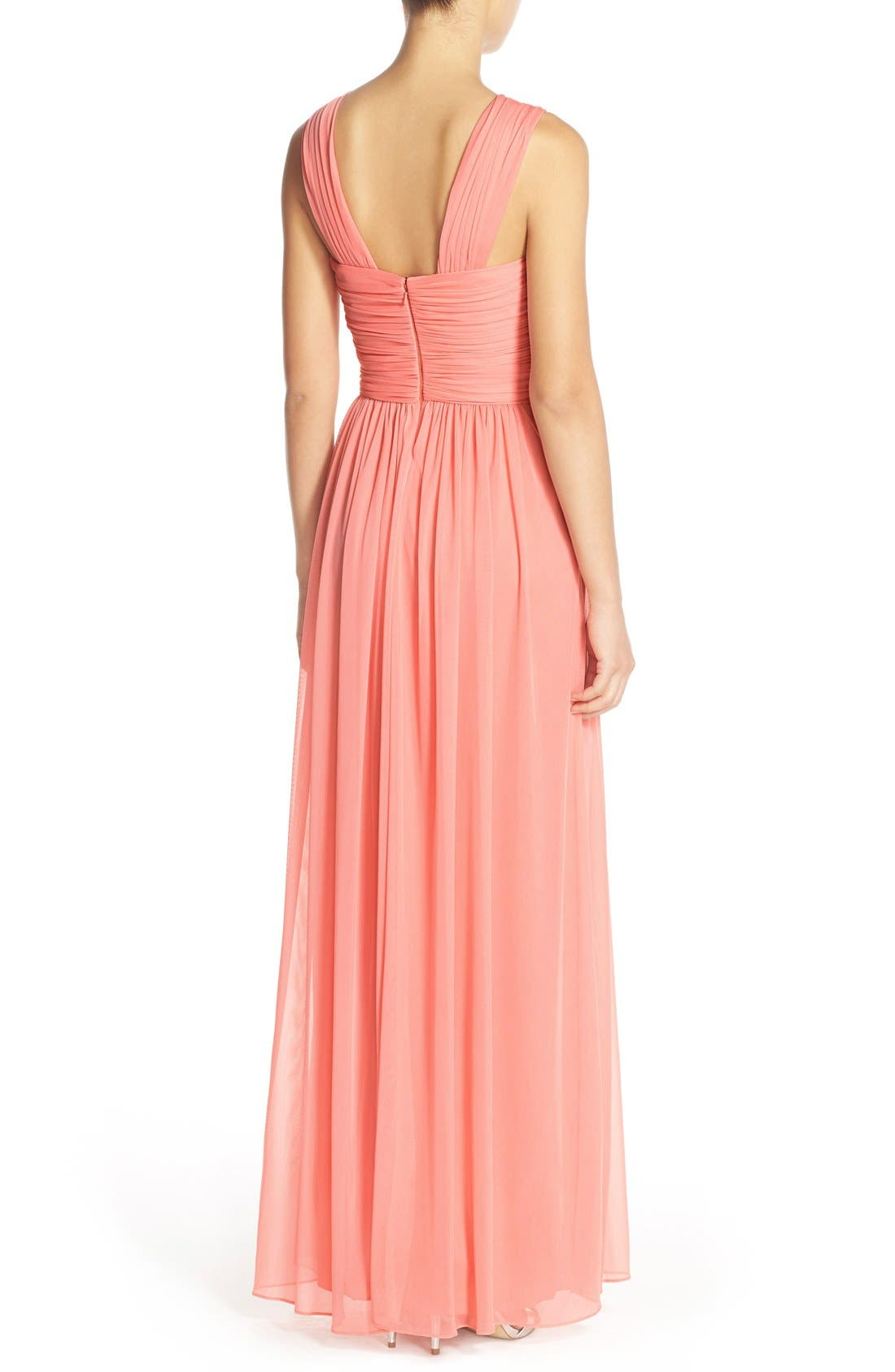 Alternate Image 2  - Alfred Sung Shirred Chiffon V-Neck Gown