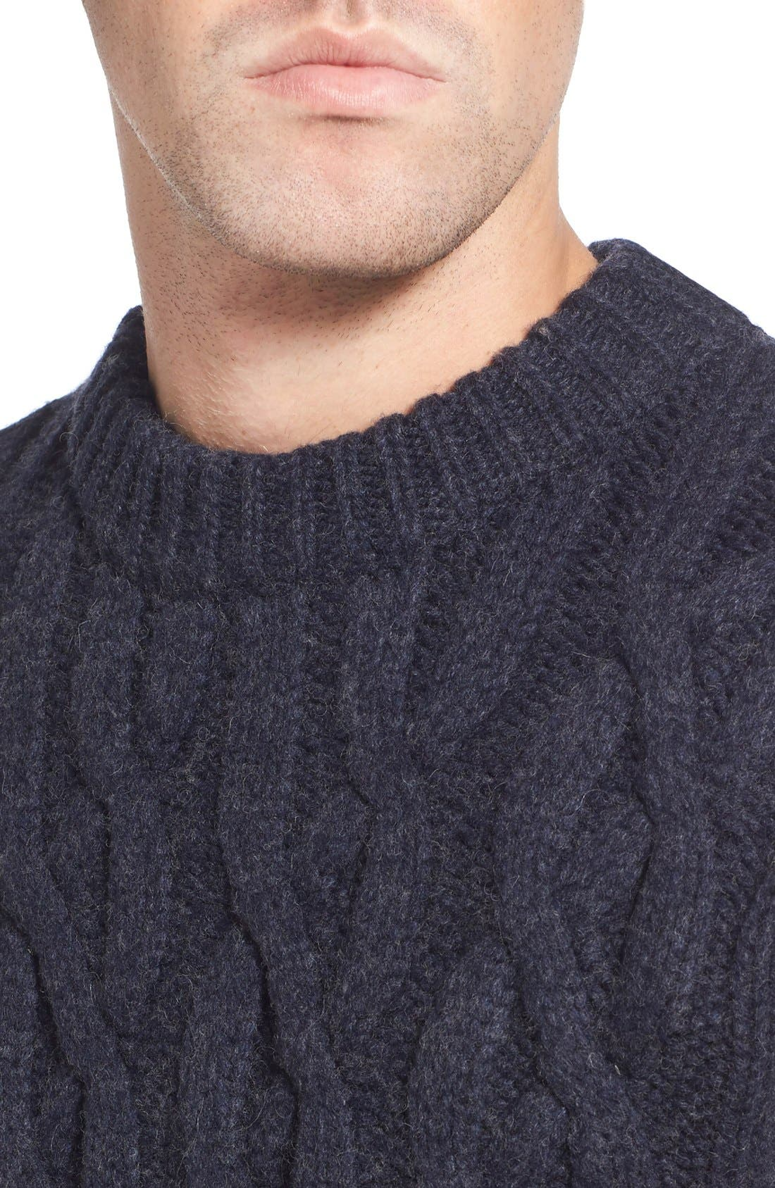 Regular Fit Cable Knit Crewneck Wool Blend Sweater,                             Alternate thumbnail 4, color,                             Navy