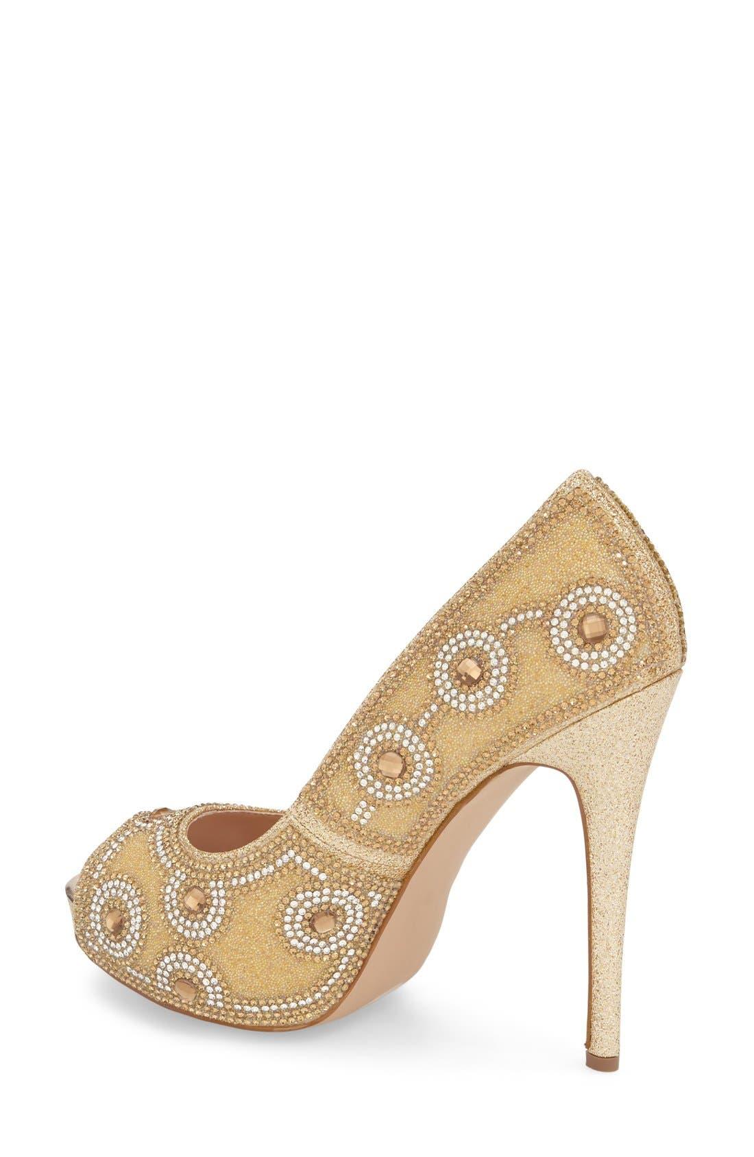 Alternate Image 2  - Lauren Lorraine 'Elenor' Crystal Embellished Peep Toe Pump (Women)