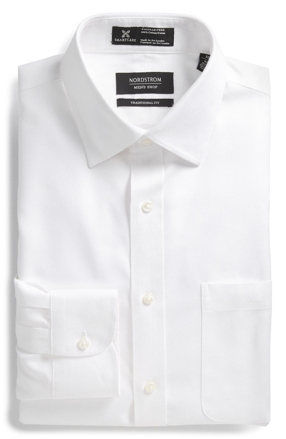 Smartcare<sup>™</sup> Traditional Fit Solid Dress Shirt,                         Main,                         color, White