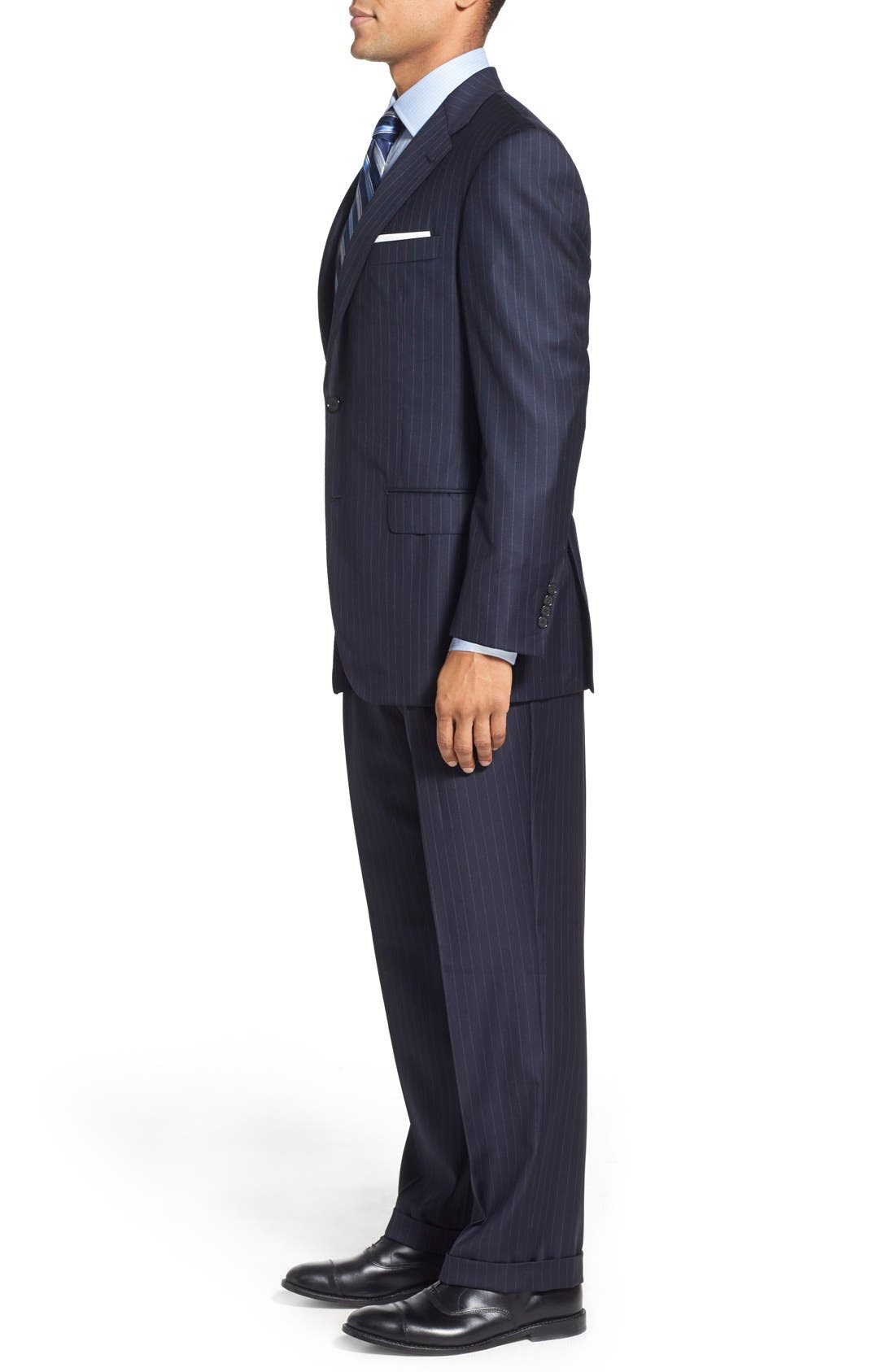 'Beacon - B Series' Classic Fit Stripe Wool Suit,                             Alternate thumbnail 3, color,                             Navy