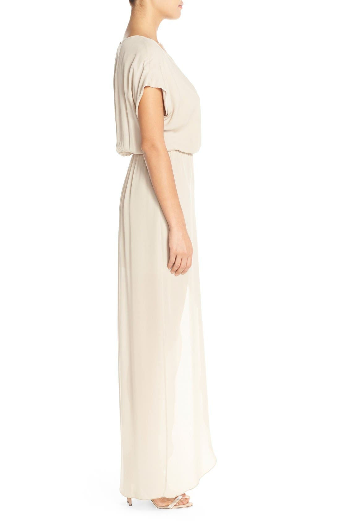 'Plaza' Faux Wrap Silk Georgette Cutaway Gown,                             Alternate thumbnail 3, color,                             Nude