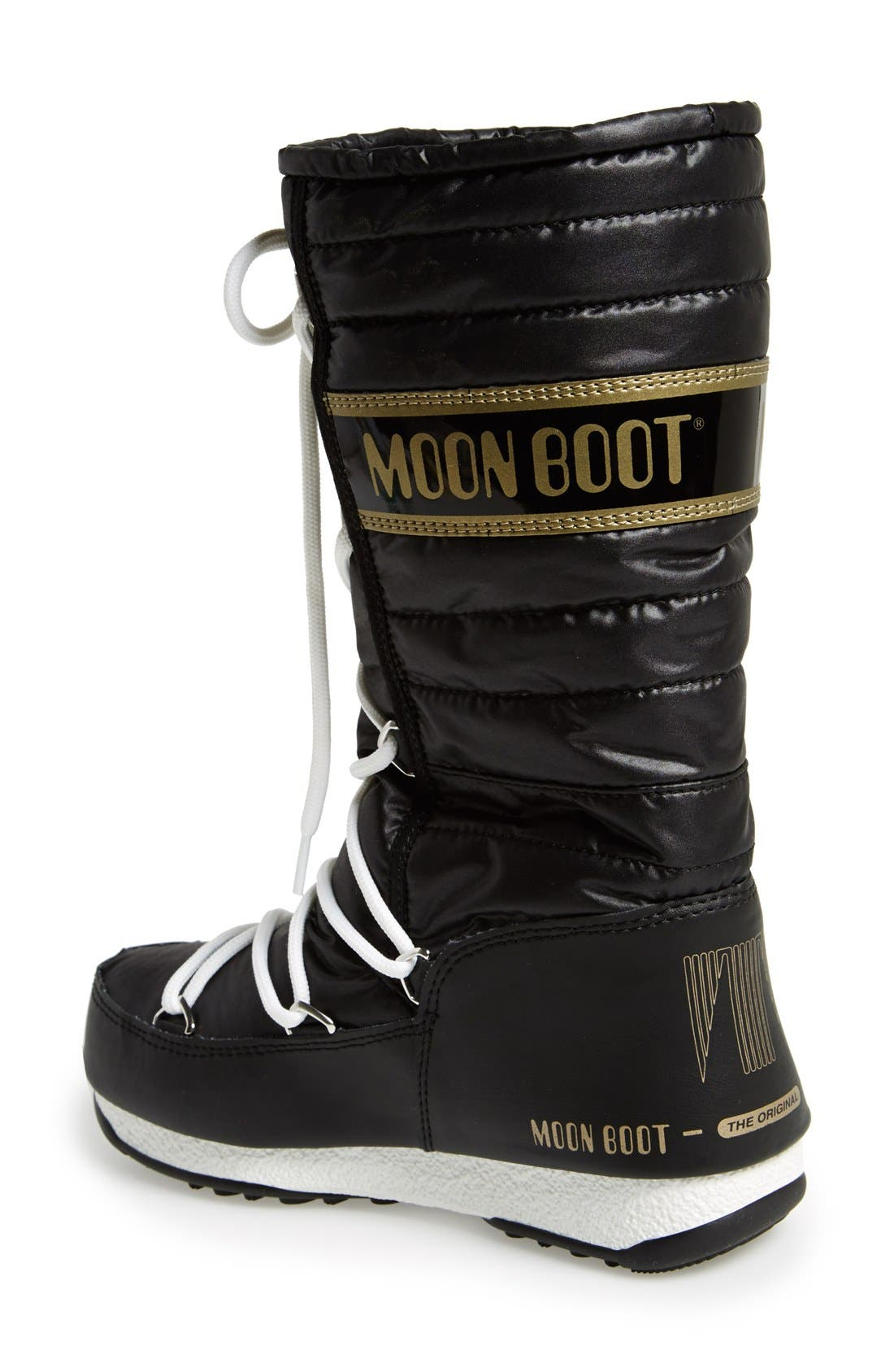 Quilted Waterproof Insulated Moon Boot<sup>®</sup>,                             Alternate thumbnail 2, color,                             Black/ Gold