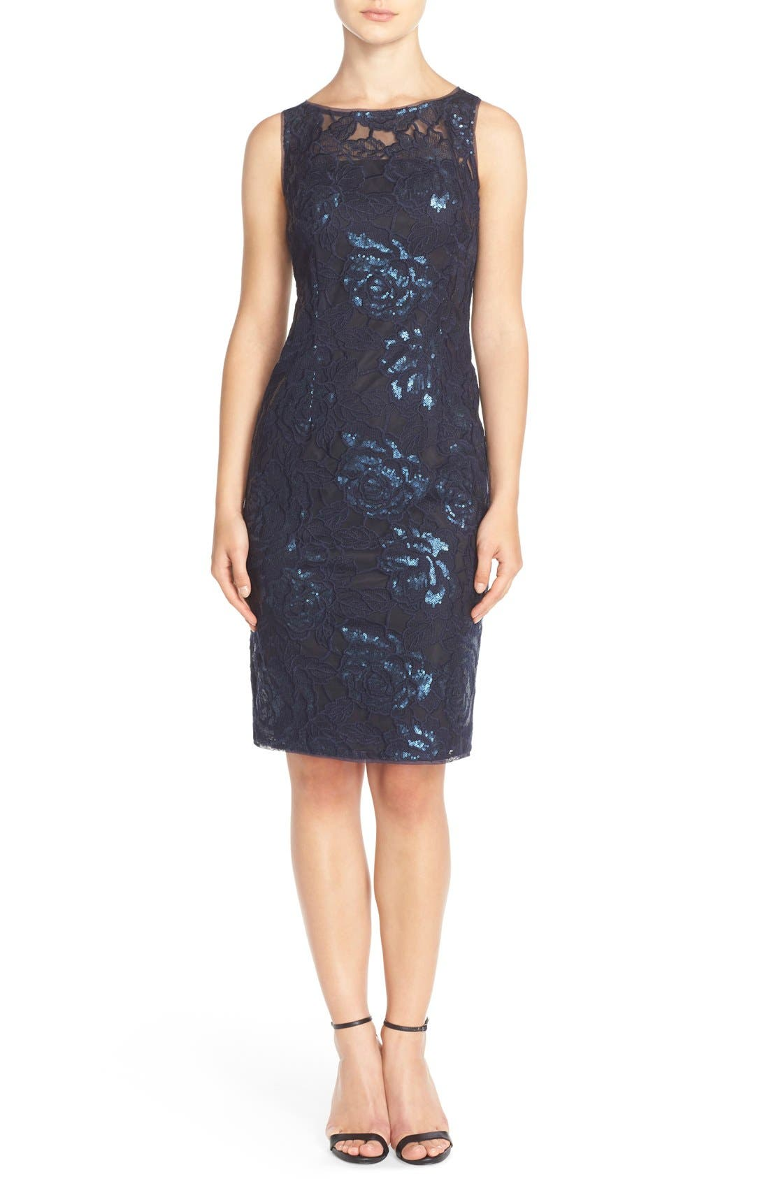 Illusion Sequin Lace Sheath Dress,                             Alternate thumbnail 4, color,                             Navy