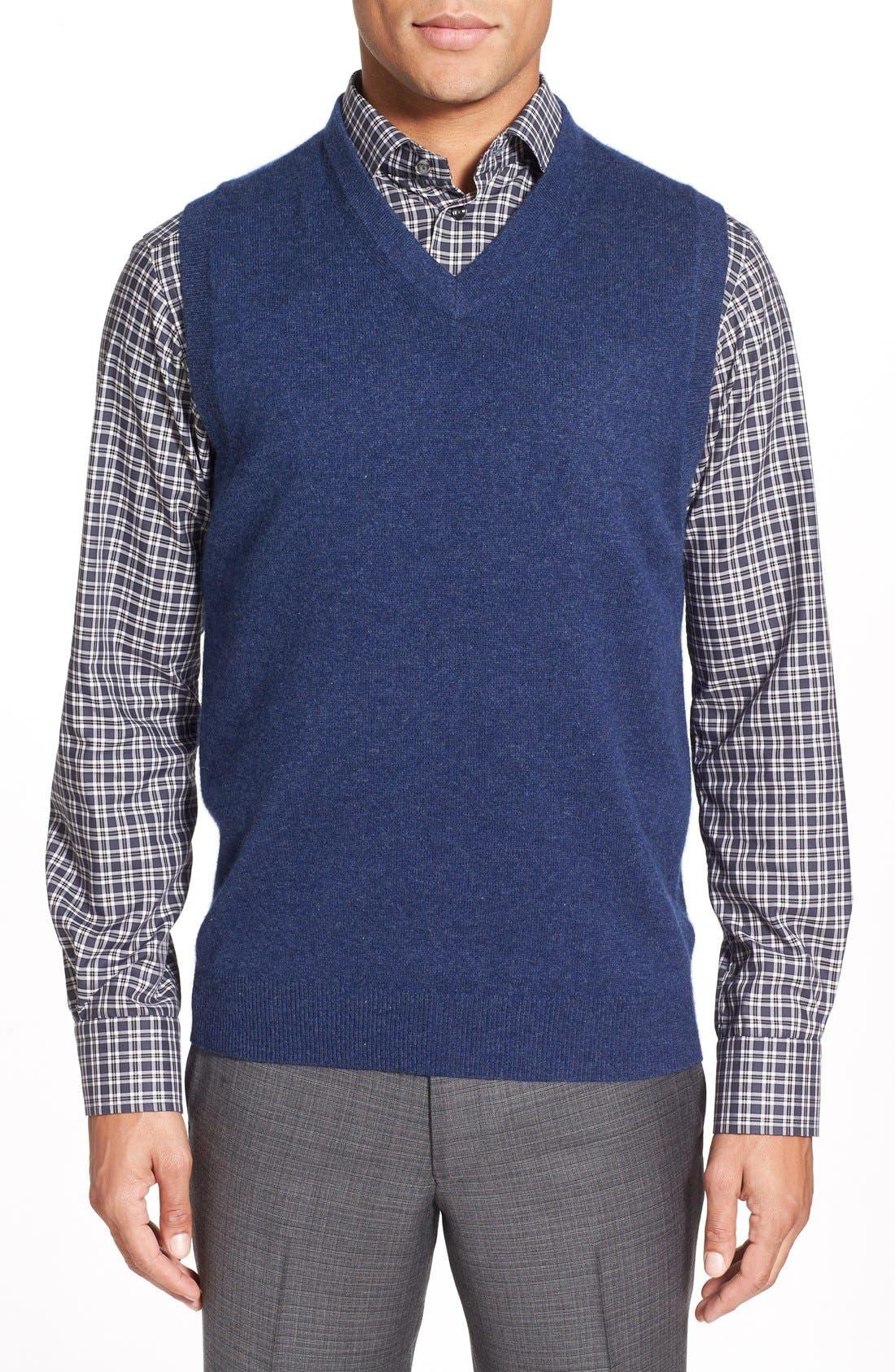 Nordstrom Men's Shop Cashmere V-Neck Sweater Vest (Regular & Tall)