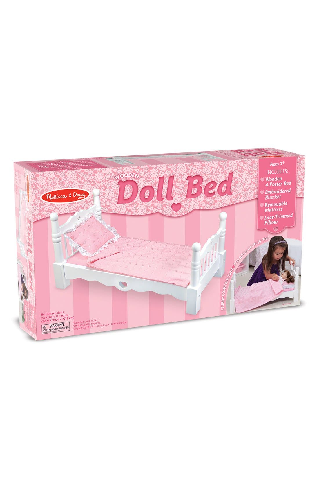 Alternate Image 2  - Melissa & Doug Wooden Doll Bed