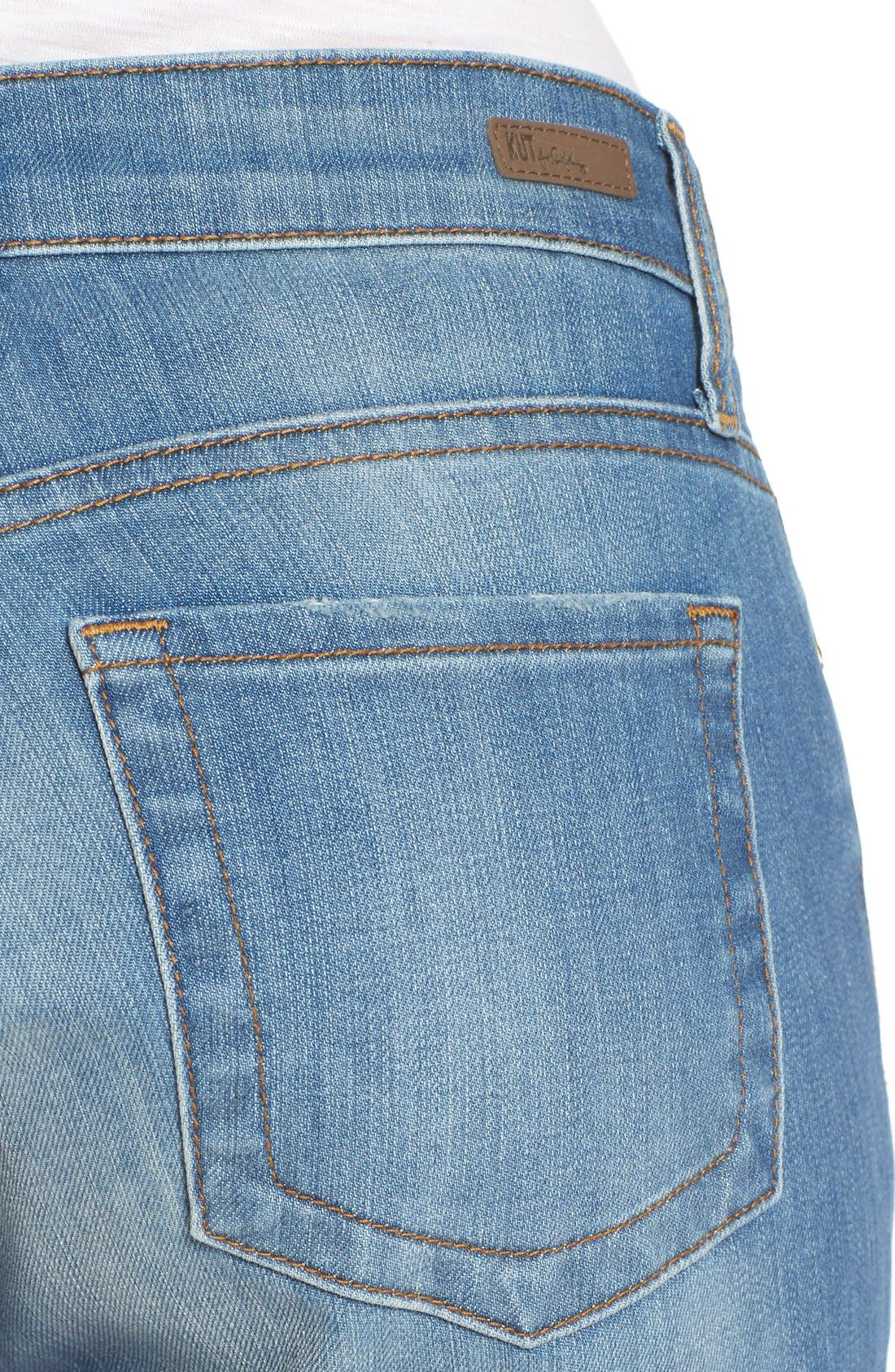 Alternate Image 4  - KUT from the Kloth 'Catherine' Distressed Stretch Boyfriend Jeans (Smile)