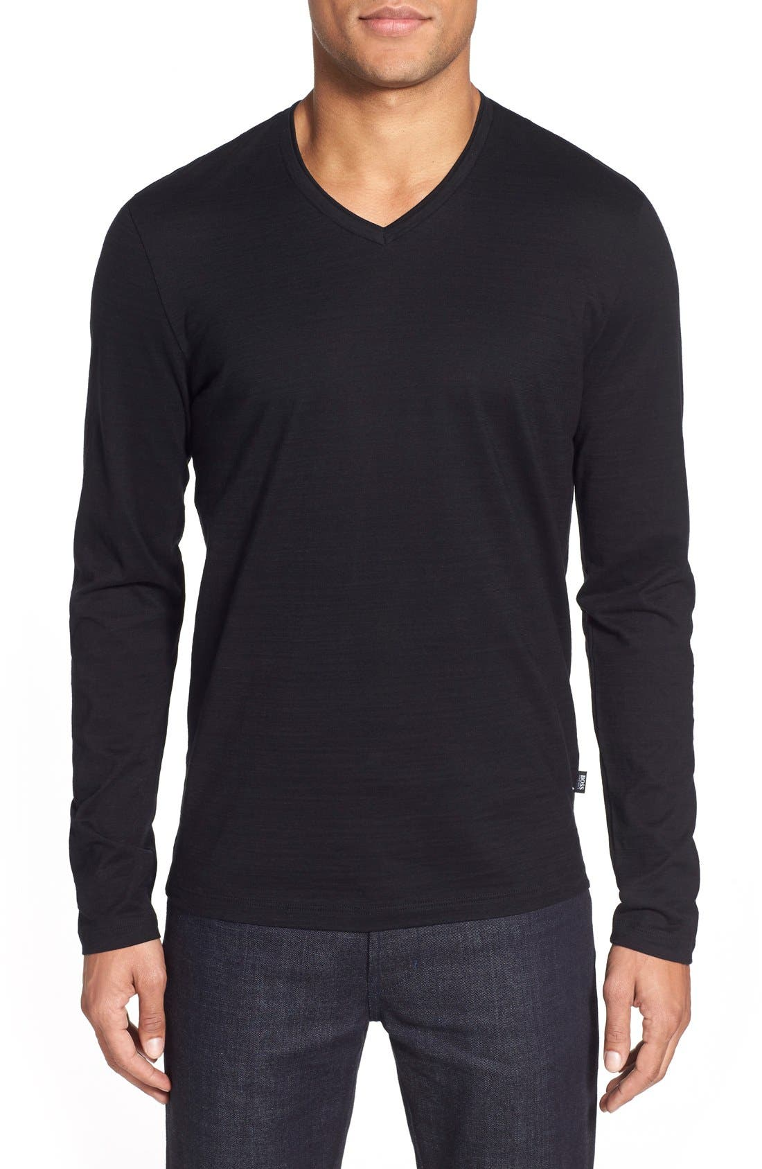 'Tyson' V-Neck Long Sleeve T-Shirt,                             Main thumbnail 1, color,                             Black