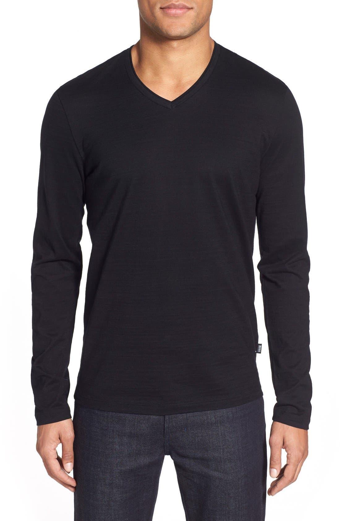 'Tyson' V-Neck Long Sleeve T-Shirt,                         Main,                         color, Black