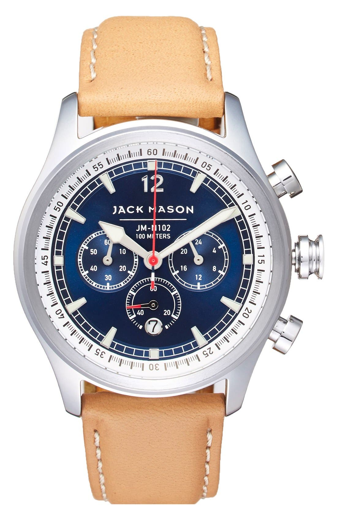 Nautical Chronograph Leather Strap Watch, 42mm,                         Main,                         color, Navy/ Camel