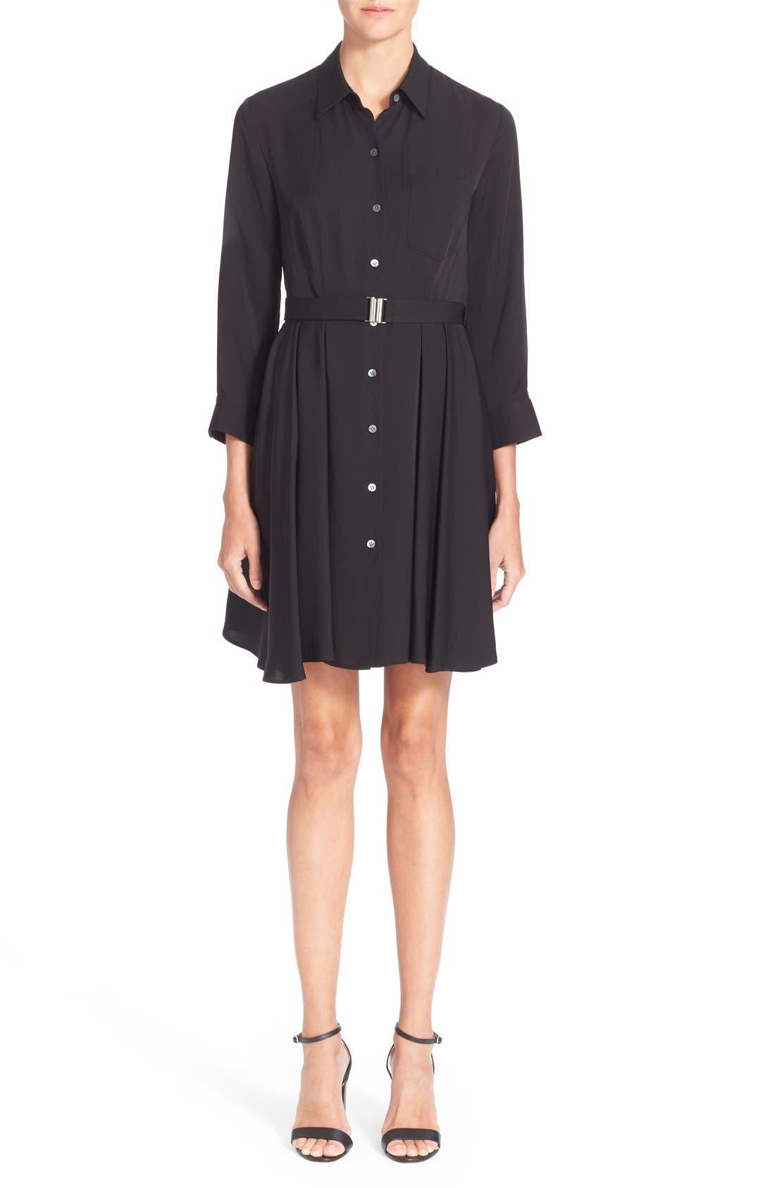 'Jaylis' Silk Shirtdress,                             Main thumbnail 1, color,                             Black