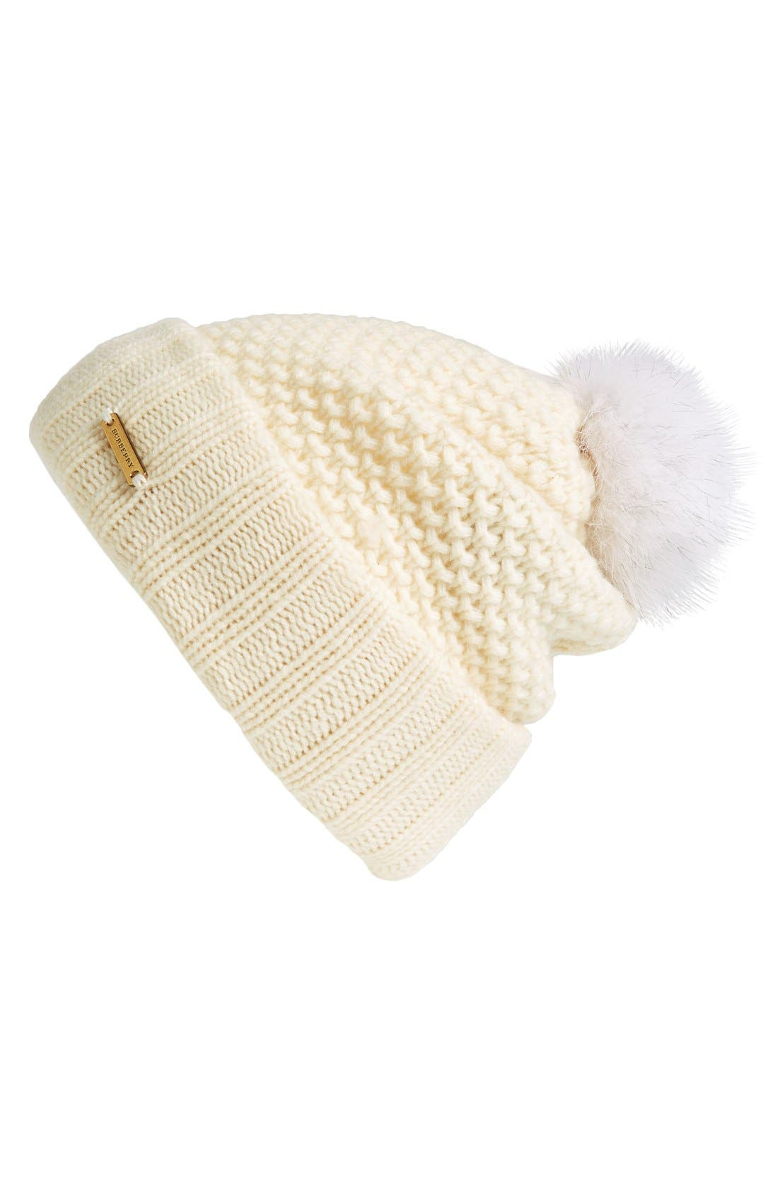 Main Image - Burberry Genuine Blue Fox Fur Pompom Beanie