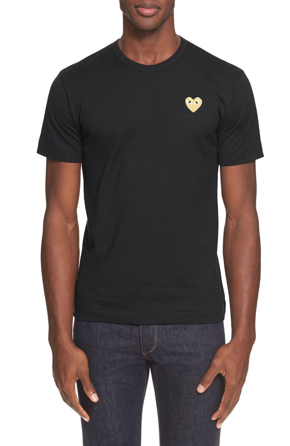 Comme des Garçons PLAY Crewneck T-Shirt,                             Main thumbnail 1, color,                             Black