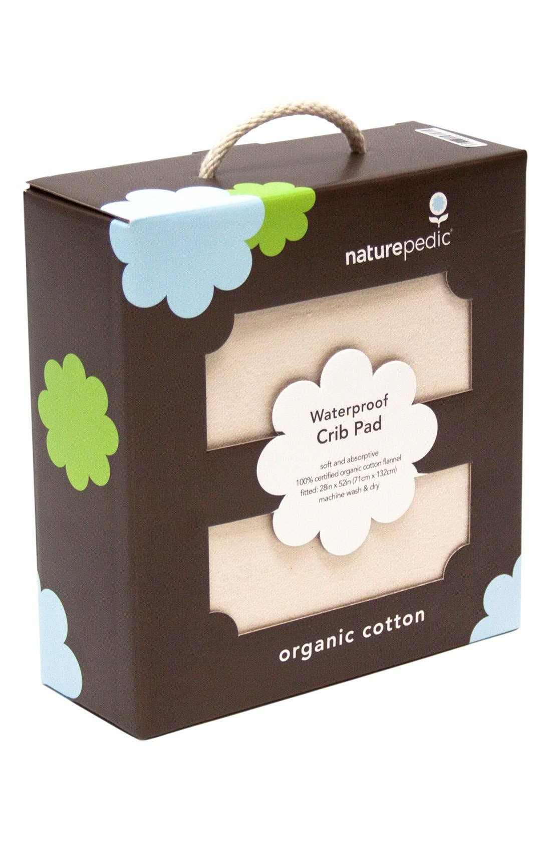 Organic Cotton Waterproof Fitted Crib Protector Pad,                             Alternate thumbnail 4, color,                             Natural