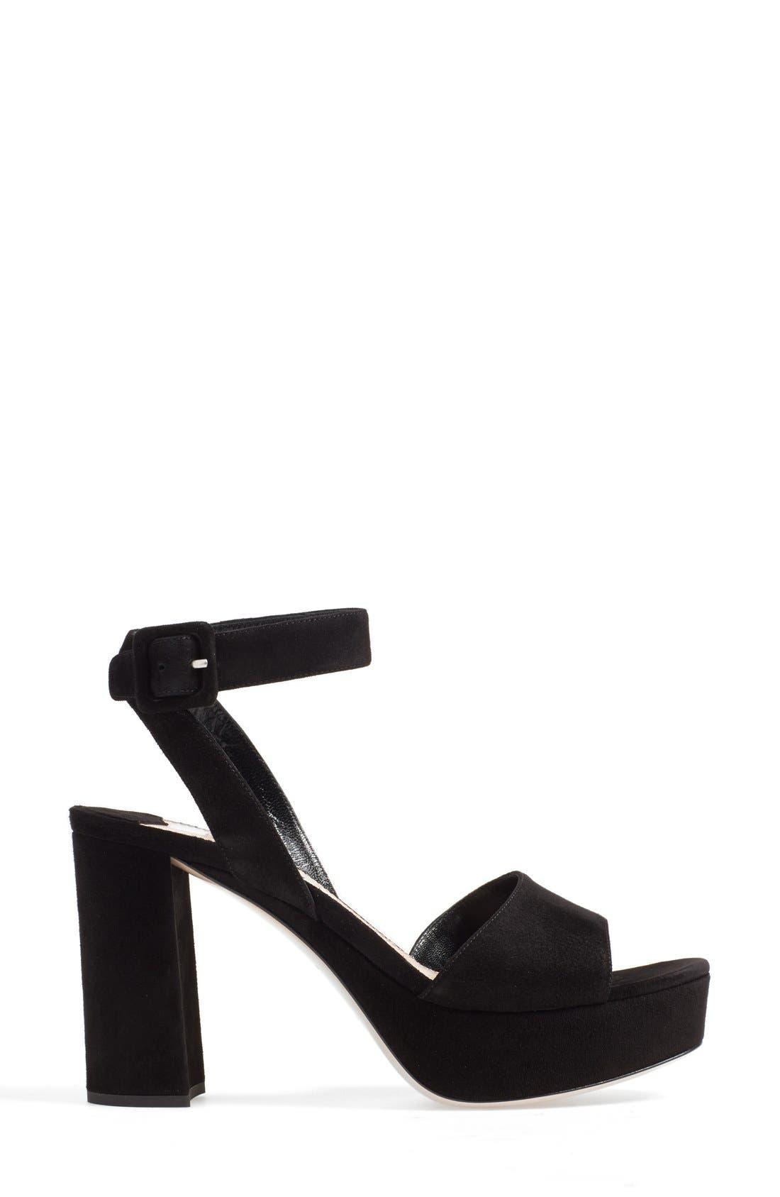 'Sandali' Ankle Strap Sandal,                             Alternate thumbnail 4, color,                             Black