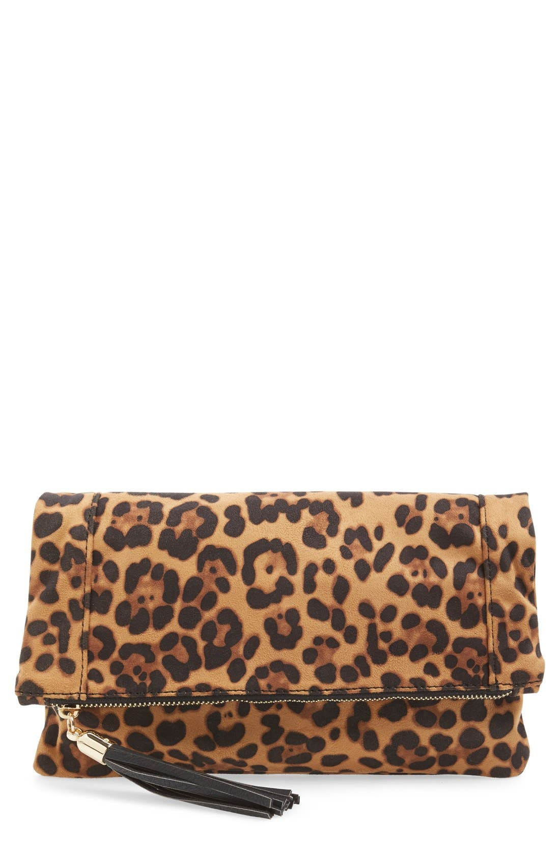 Alternate Image 1 Selected - Sole Society 'Tasia' Print Foldover Clutch