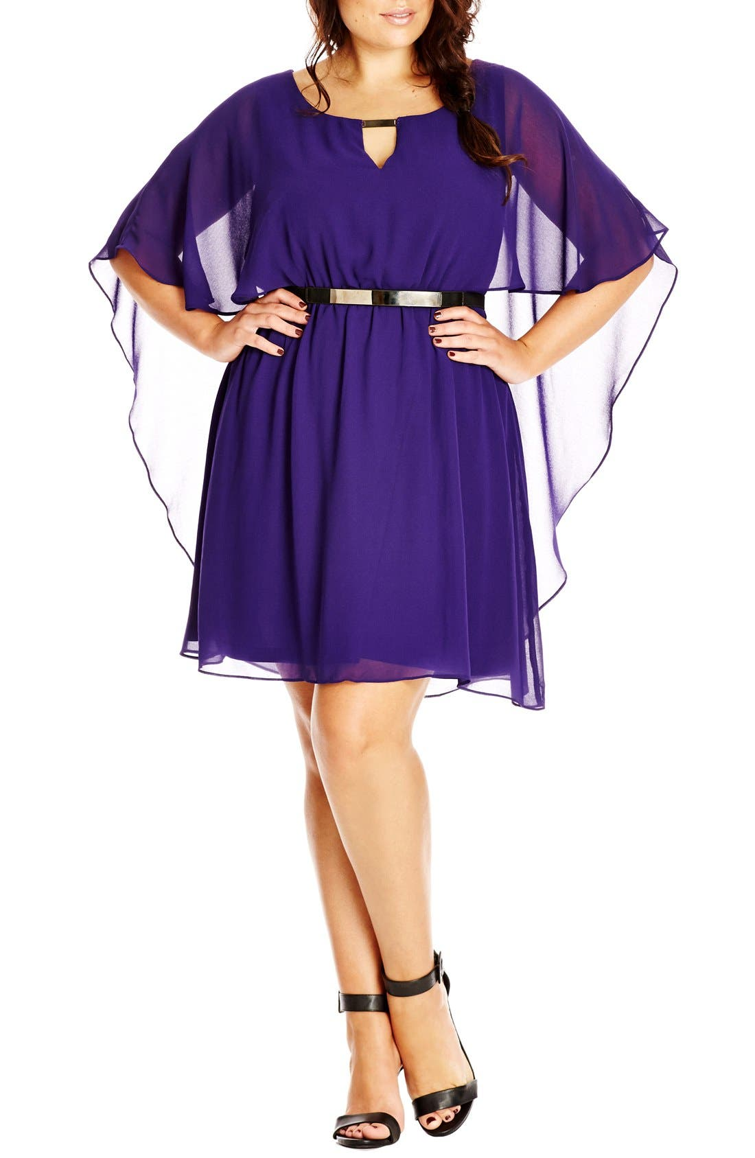 Alternate Image 1 Selected - City Chic Belted Capelet Dress (Plus Size)