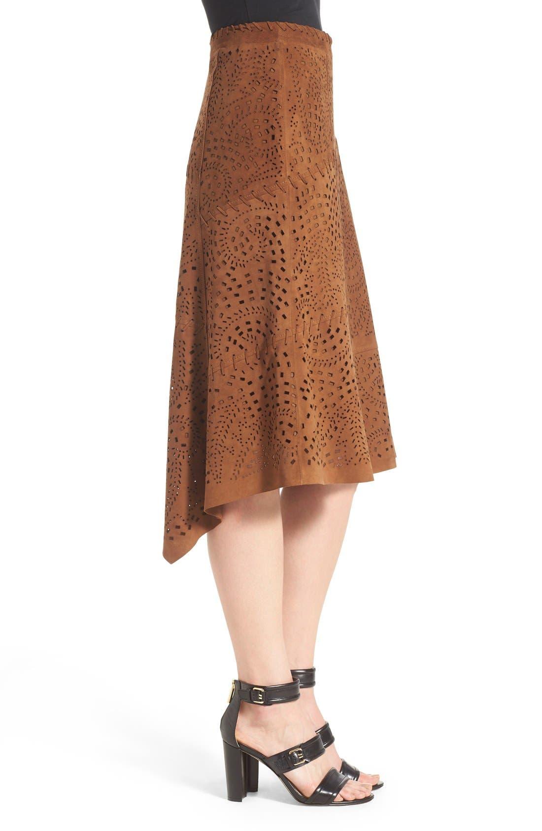 Alternate Image 3  - Kobi Halperin Perforated Suede Asymmetrical A-Line Skirt