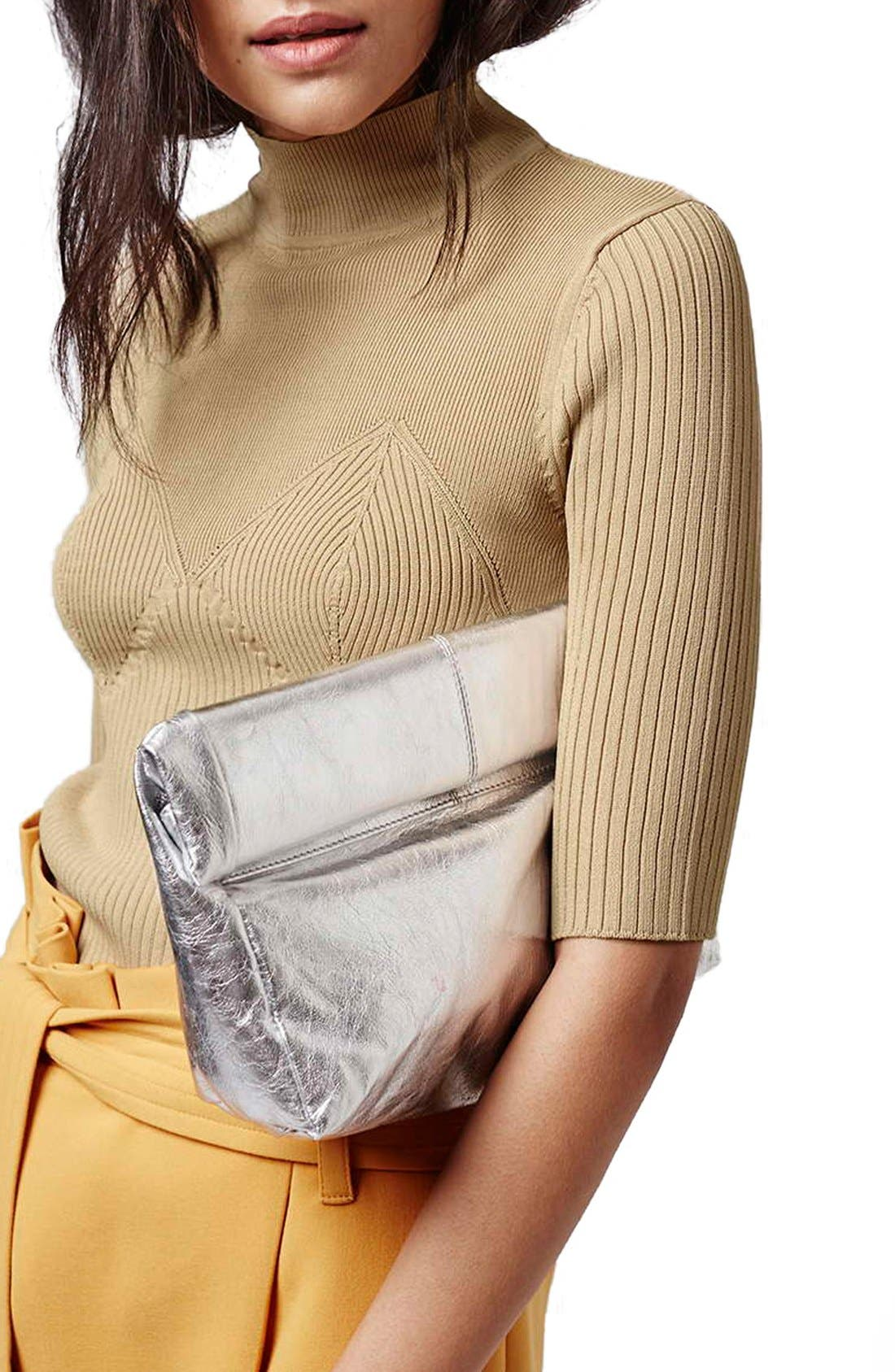 Alternate Image 2  - Topshop Metallic Leather Foldover Clutch