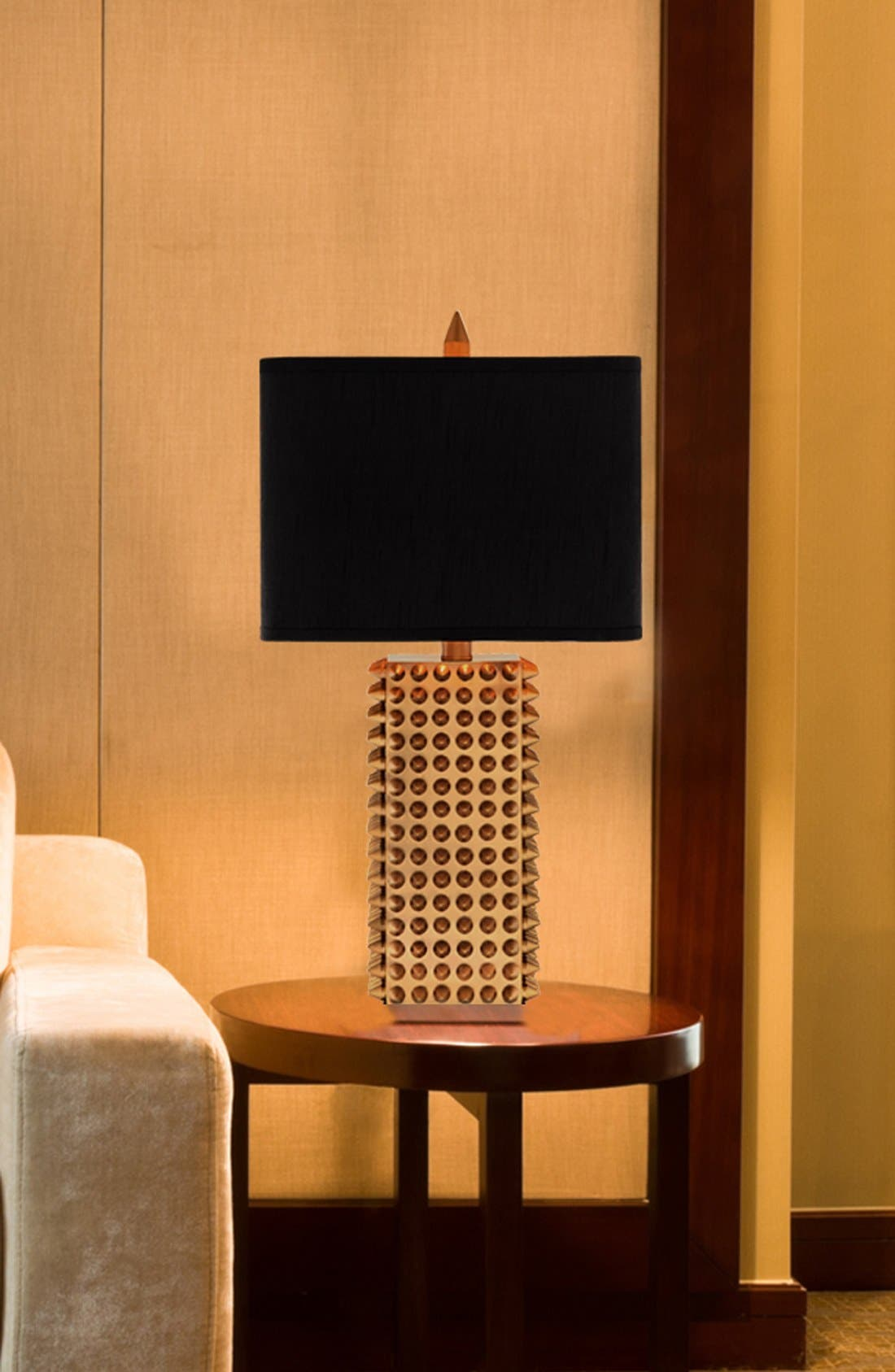 Goldtone Spiked Square Table Lamp,                             Alternate thumbnail 2, color,                             Gold