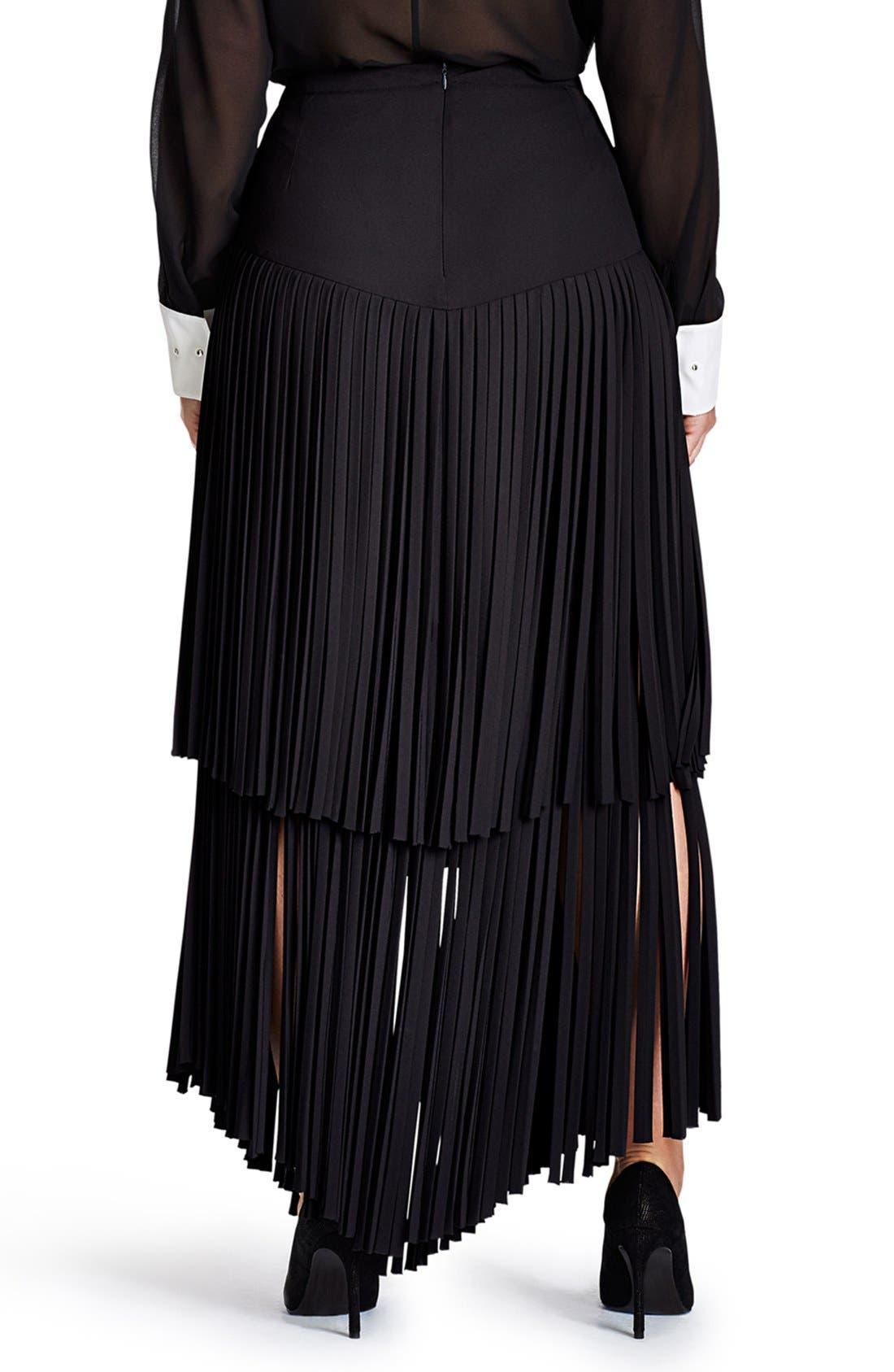 Fringe Maxi Skirt,                             Alternate thumbnail 2, color,                             Black