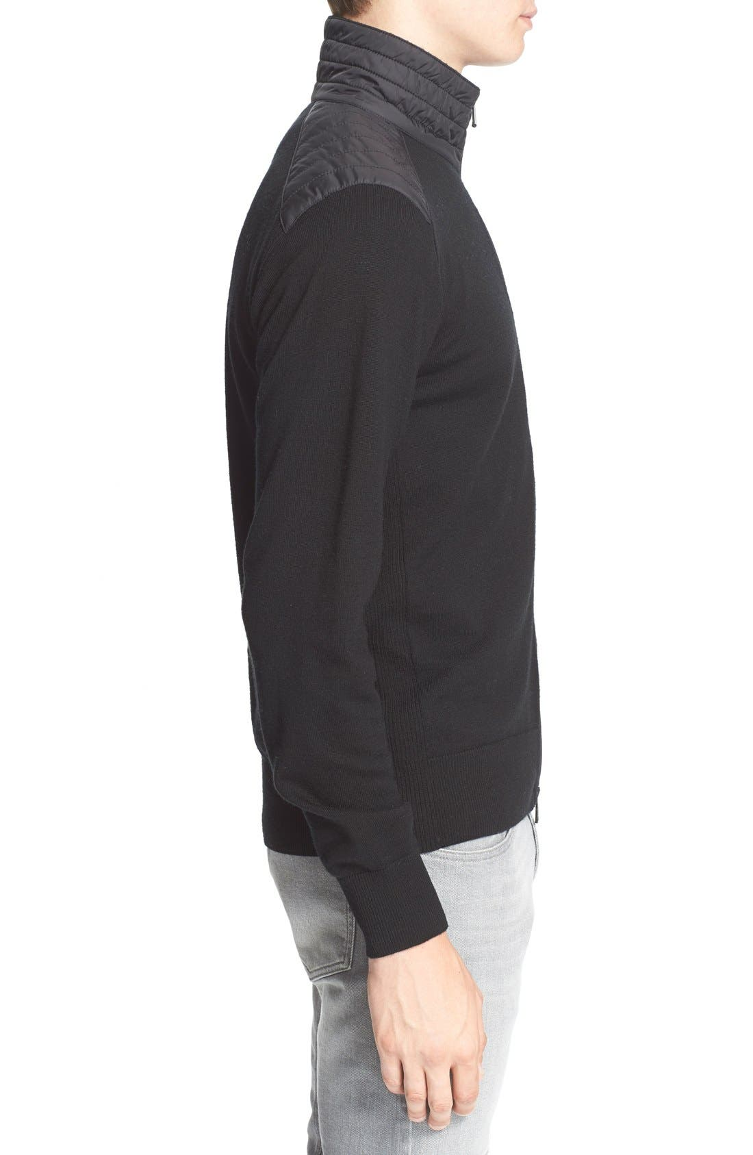 'Kelby' Full Zip Wool Sweater,                             Alternate thumbnail 3, color,                             Black