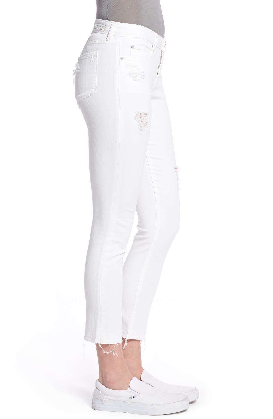 Alternate Image 4  - Articles of Society 'Carly' Frayed Hem Crop Skinny Jeans (Worn White)