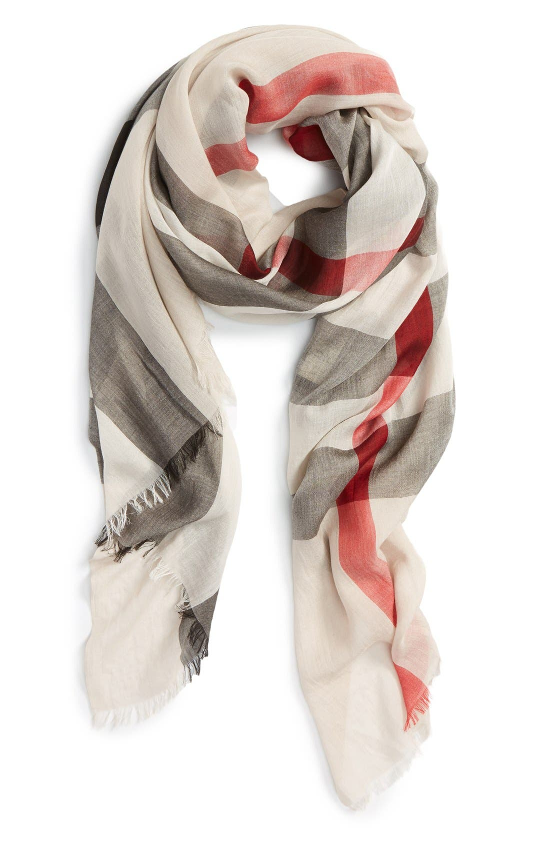 Brit Sheer Mega Check Scarf,                             Main thumbnail 1, color,                             Heritage Stone