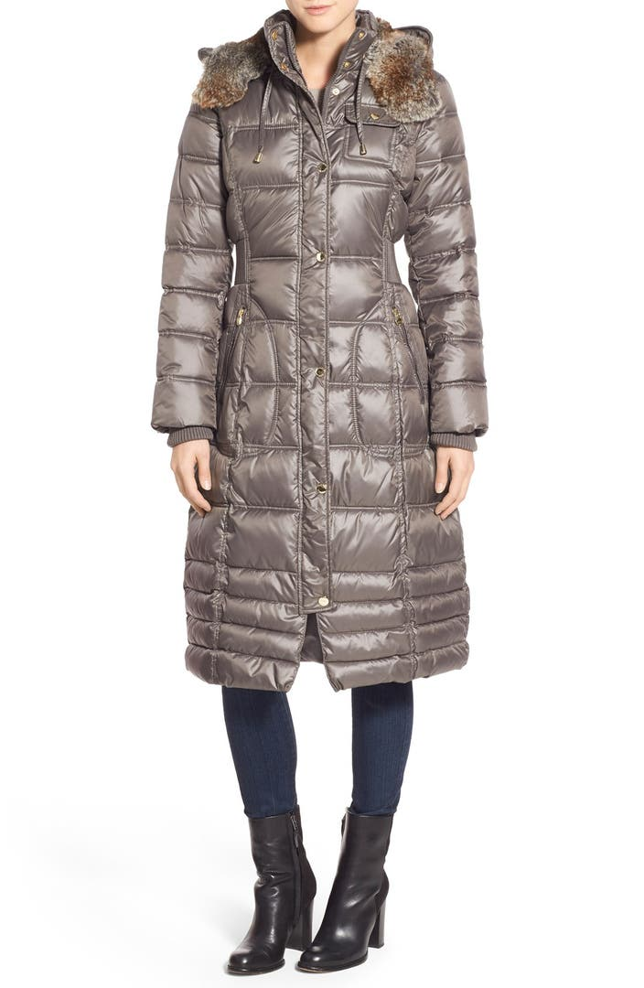 Laundry By Design Quilted Coat With Faux Fur Lined Hood